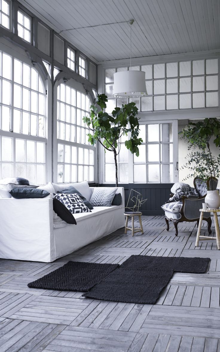 10 Beautiful Rooms – Mad About The House - Danish designer Tine K's home. Love the wooden floors and rug with the giant plans and monochrome palette
