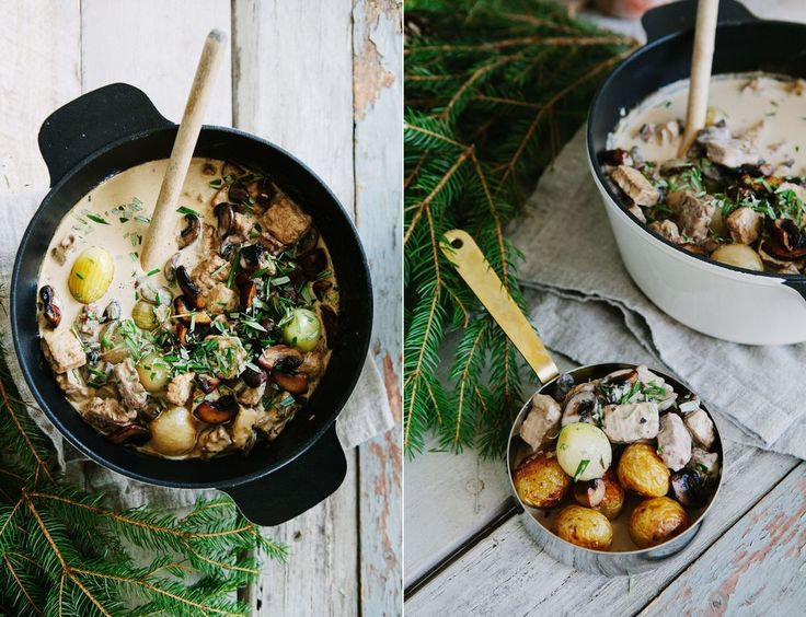 creamy vegetarian christmas stew w/ red wine + mushrooms • made by mary