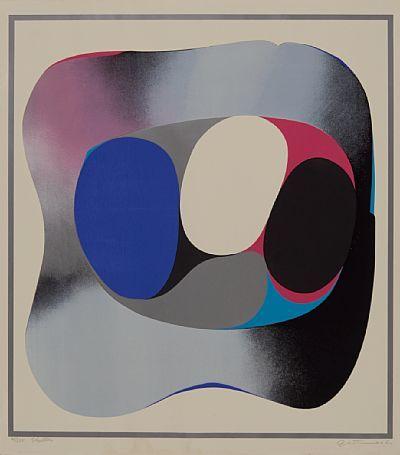 """GUNNAR S. GUNDERSEN FØRDE 1921 - BÆRUM 1983  """"Stella"""" Fargeserigrafi, 61/125. 69x62 cm Signert nede til høyre: Gunnar S."""