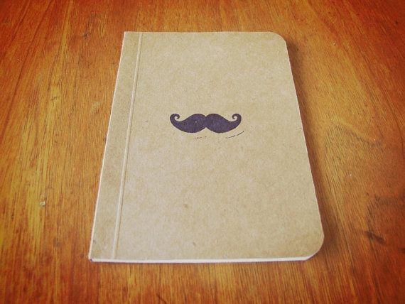 Mustache Notebook, Pocket Journal, Original Handmade Moleskine, Mini Diary and Jotter, Her Movie Notebook, Stamp Illustration #handmade #journal