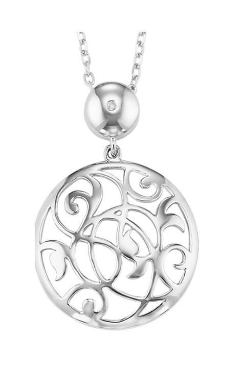 Silver Circle Pendant with Filigree Design $189.00