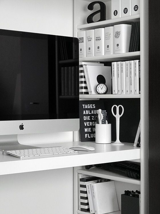 Via Tuulituulituuli | Black and White | Home Office tafel in kast of kast in muur met tafel