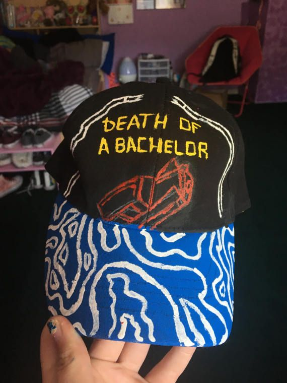 I would wear this every day of my life. Hand painted panic! at the disco death of a bachelor hat.