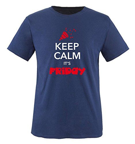 Comedy Shirts - KEEP CALM IT'S FRIDAY - children T-Shirt camiseta - marina / blanco-rojo tamaño 86-92 #camiseta #friki #moda #regalo