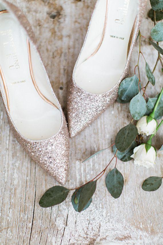 rose gold glitter shoes #rosegold #bridalshoes #glitter