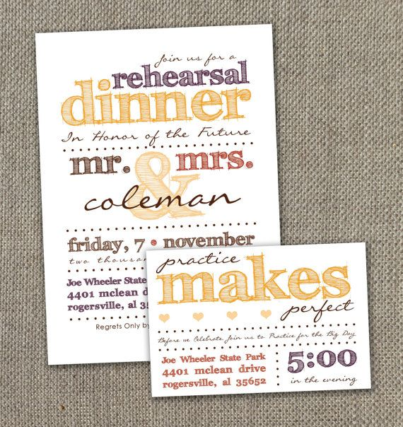Fall Rehearsal Dinner Invitation 5 X 7 with Practice Makes Perfect Details Card 4 X 6 (Digital file)