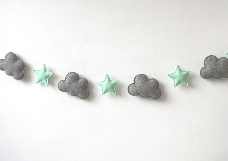 Cute nursery idea! Cloud and Star Garland, Nursery garland.. Pin now, check out later! - pinned by pin4etsy.com
