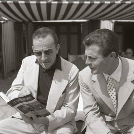 Luchino Visconti e Marcello Mastroianni alla Biennale nel 1957. Per gentile concessione di Cameraphoto Epoche