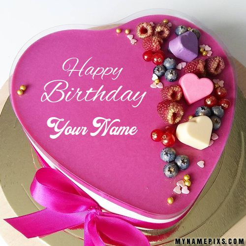 Cute Romantic Heart Birthday Wishes Cake With Your Name Jaanu