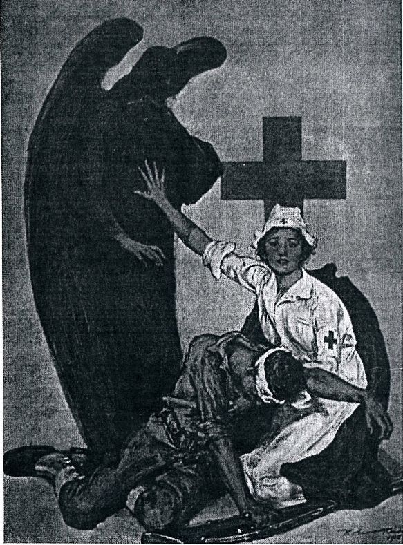 Red Cross poster 1922. Not so fast angel of death, I have work to do!