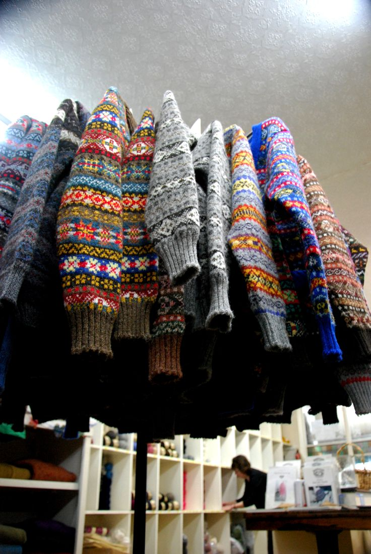 'Fair Isle jumpers on sale in Jamiesons, Lerwick. Ideal for people like me who struggle with colourwork.' - Jeni Reid