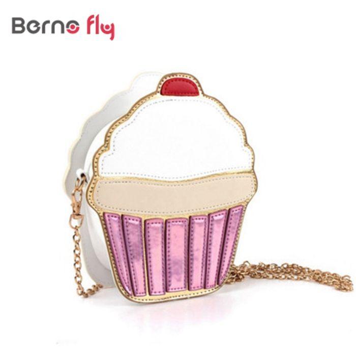 New women Clutch Crossbody Bag Fashion Lady Shoulder Bag Girl Cupcake Small Cute Purse Mini Ice Cream /Cake Pattern Design Bag