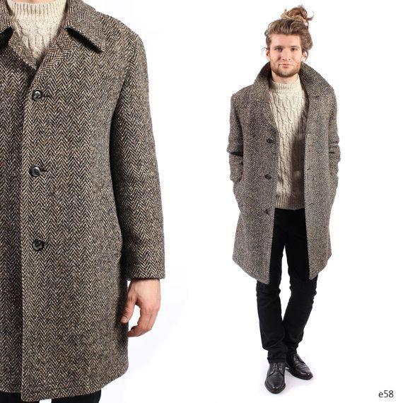 Vintage Tweed Coat . Mens Coat . Herringbone Tweed Winter ...
