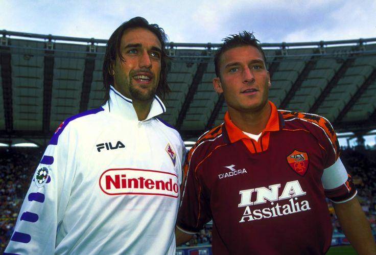 Francesco Totti & Gabriel Batistuta (rouge-et-noir-eses @ tumblr)