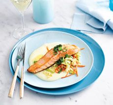 Salmon with Irish potato sauce and green onion butter
