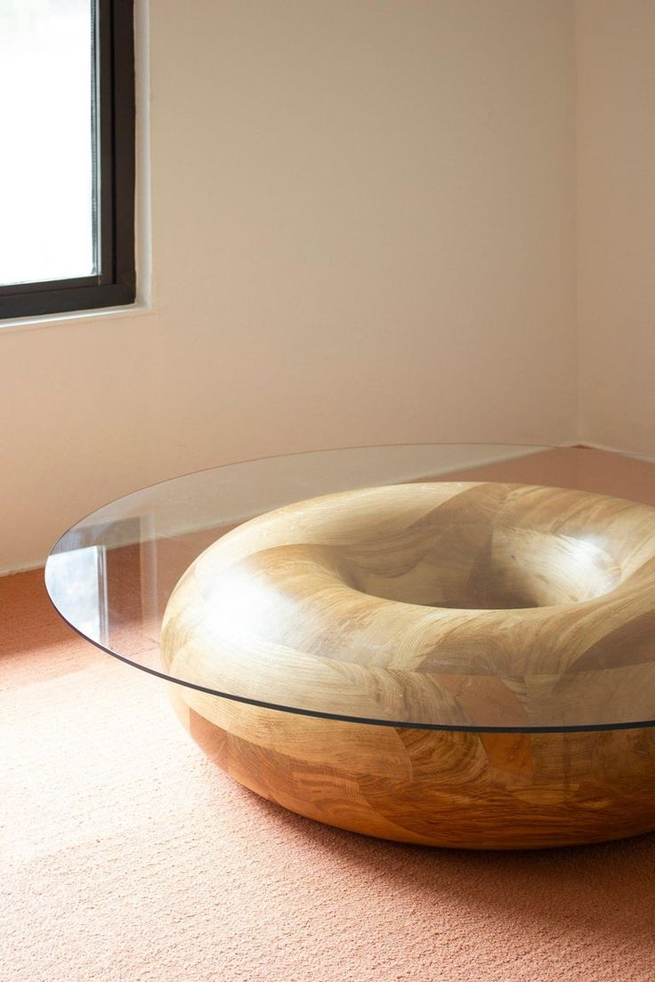 Donut Circular 48-inch Oak And Glass Coffee Table By Soft-geometry