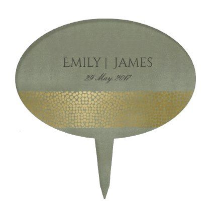 GLAMOROUS GOLD VELVET GREY MOSAIC DOT PERSONALISED CAKE TOPPER - trendy gifts cool gift ideas customize