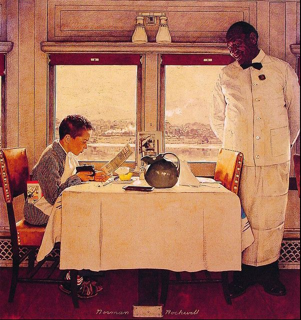 1947 - Boy in a Dining Car - by Norman Rockwell by x-ray delta one, via Flickr This reminds me of when I traveled with my parents to Michagan by train and my dad let me eat in the dinning car.