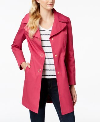 Anne Klein Hooded Lightweight Trench Coat $150.00 Match the lightweight style of this hooded trench coat from Anne Klein with your favorite outfit for all-weather protection.
