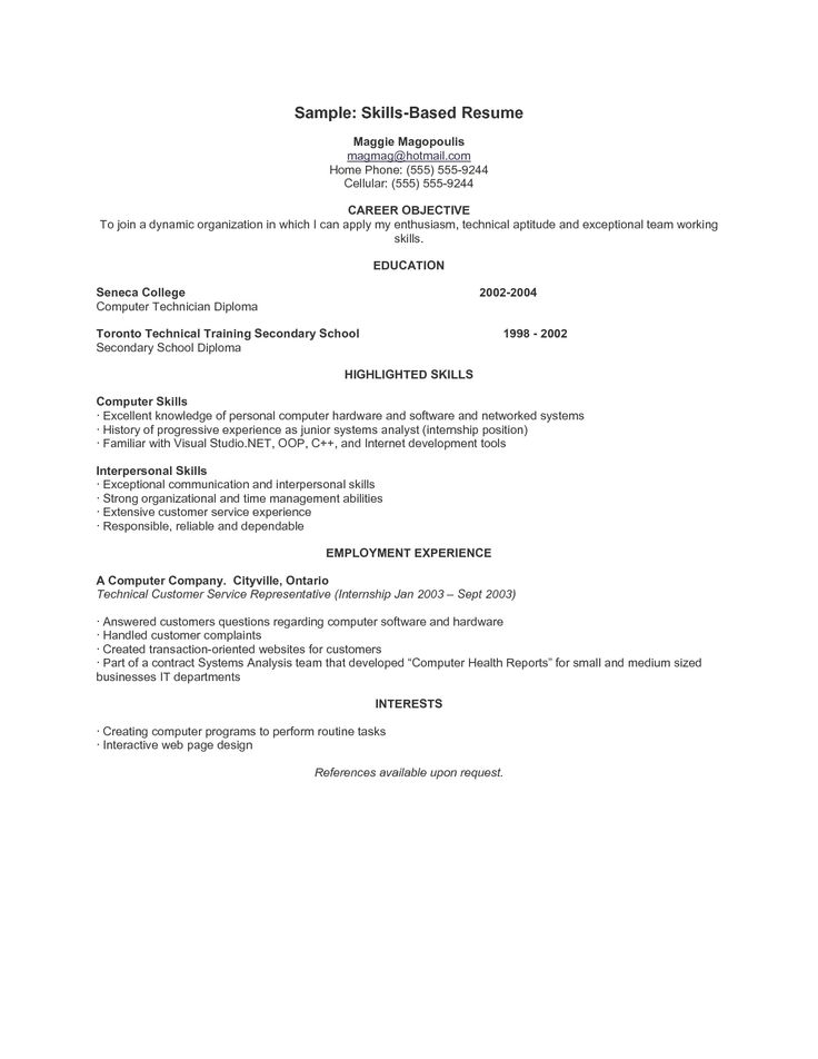Skill Resume Template Brilliant 9 Best Resumes Images On Pinterest  Resume Examples Sample