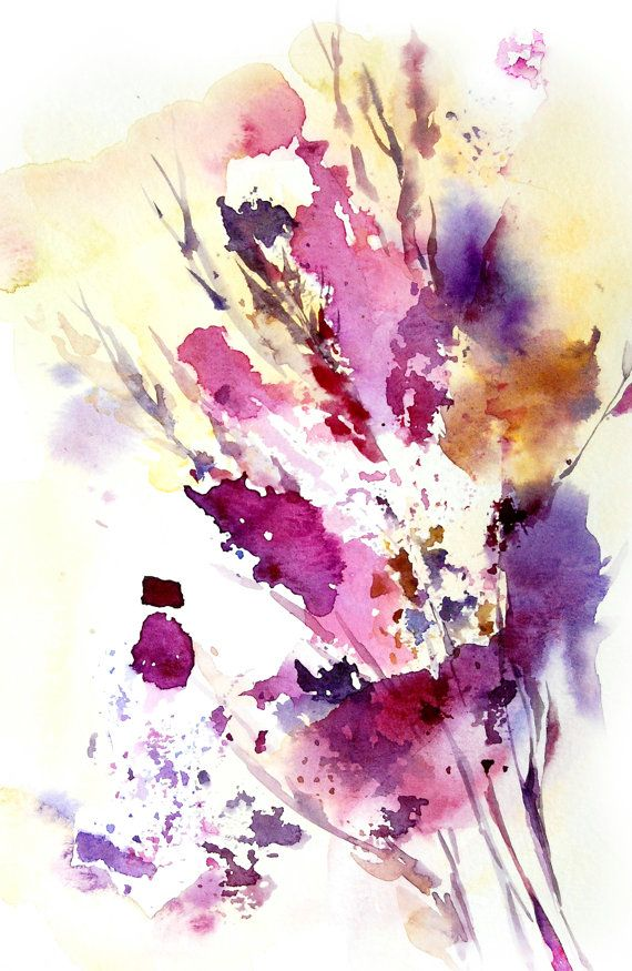 Abstract Leaves Art Print of Original Watercolor Painting 12x18 Abstract Nature Wall Art