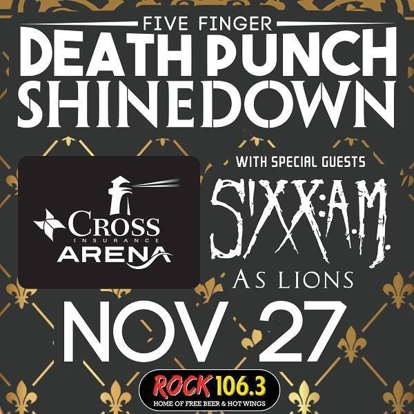 Portland ME! It's your turn to see #Shinedown #5FDP #SixxAM and #AsLions at The Cross Insurance Arena! Who's going to the show?!  Show info:  http://ift.tt/2fo9MMT