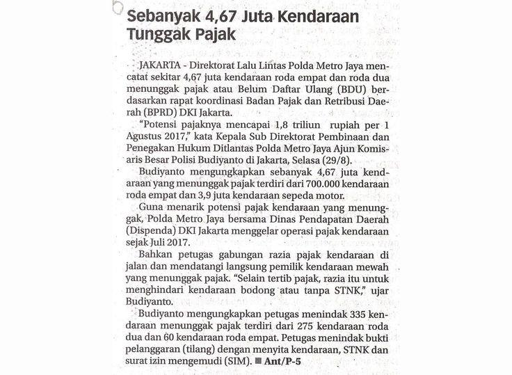 Kliping Koran Jakarta_Sebanyak 4,67 Juta Kendaraan Tunggak Pajak
