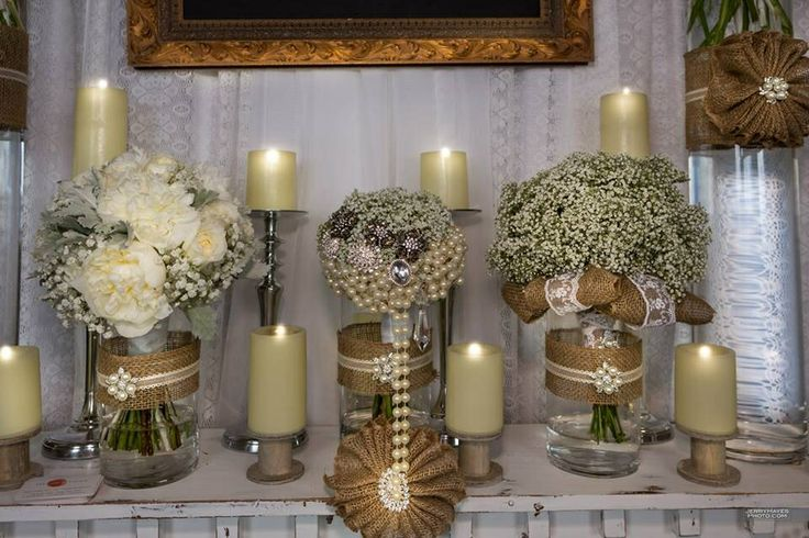 wedding decoration flowers 2 burlap candles and baby s breathe rustic wedding rustic 9037