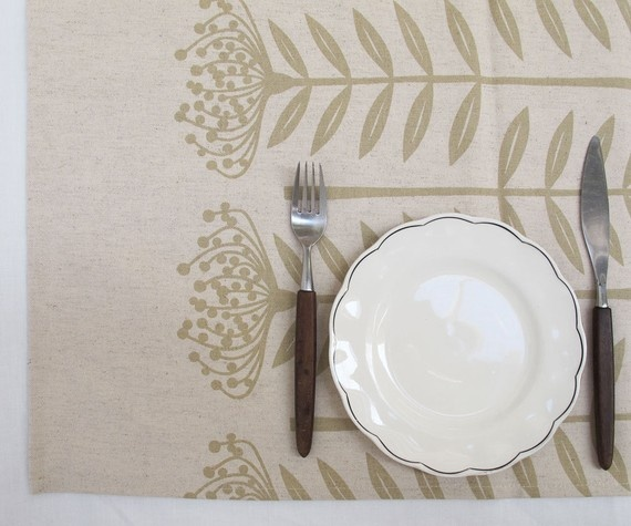 """""""Pincushion Protea"""" flower table runner in old gold by Skinny laMinx $45.40"""