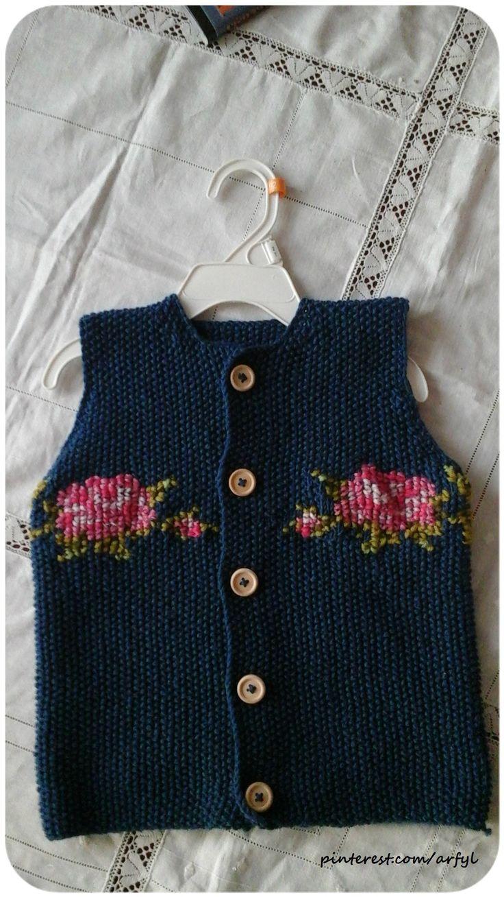 weste stricken knit vest knitting  stitch rose  вышивка на вязаном Детская желетка Stitch on Knitting
