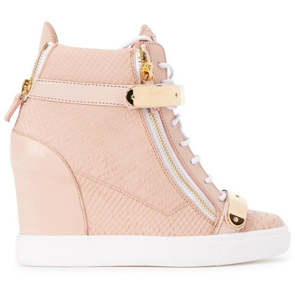 Womens Hi-Top Trainers Giuseppe Zanotti Lorenz Donna Rose Wedge Hi-top... ($935) ❤ liked on Polyvore featuring shoes, sneakers, heels, wedges, velcro sneakers, high top velcro sneakers, hidden wedge sneakers, leather high top sneakers and hidden wedge heel sneakers