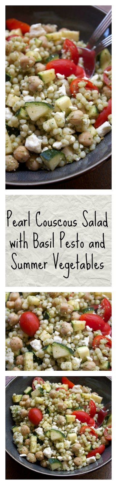 Pearl Couscous Salad with Basil Pesto and Summer Vegetables || A Less Processed Life