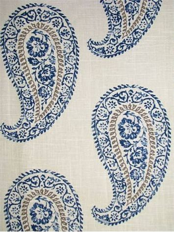 "Mandha Indigo - Echo Design Fabric, 55% linen, 45% cotton fabric, Large paisley print, multi purpose fabric, , Repeat; V 12.5"" x H 13.5"". 54.5"" wide. Softened finish"