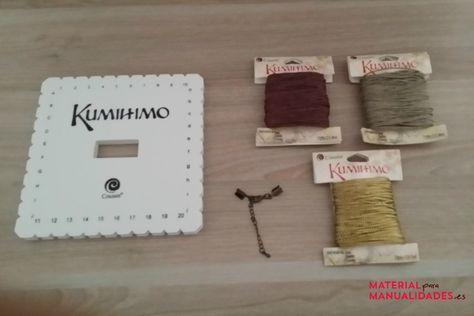 Materiales para hacer una pulsera kumihimo plana - Material para Manualidades #DIY #Kumihimo #Manualidades #Pulseras