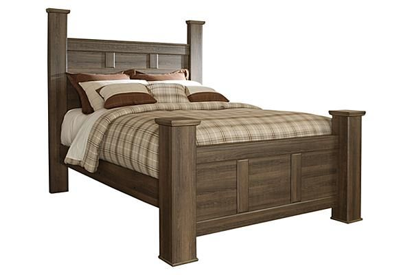 """The Juararo Poster Bed from Ashley Furniture HomeStore (AFHS.com). The beauty of Vintage Casual design come to life with the aged brown rough sawn finish flowing over a replicated oak grain along with the case pilaster detailing and warm pewter color hardware making the """"Juararo"""" bedroom collection  the perfect way to create that cottage getaway within the comfort of your home."""