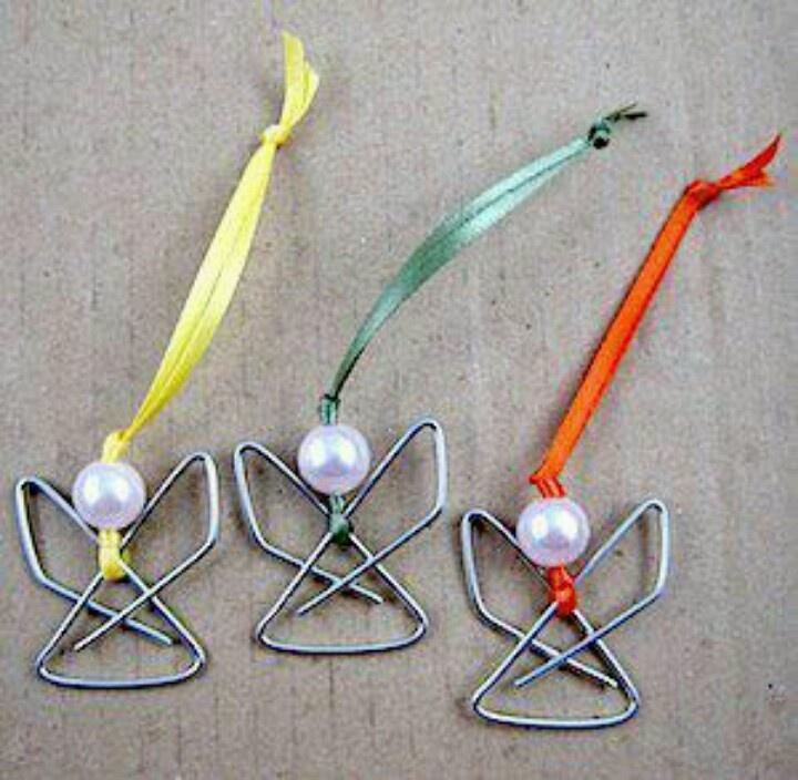 Ángelitos con clip para el arbol de navidad