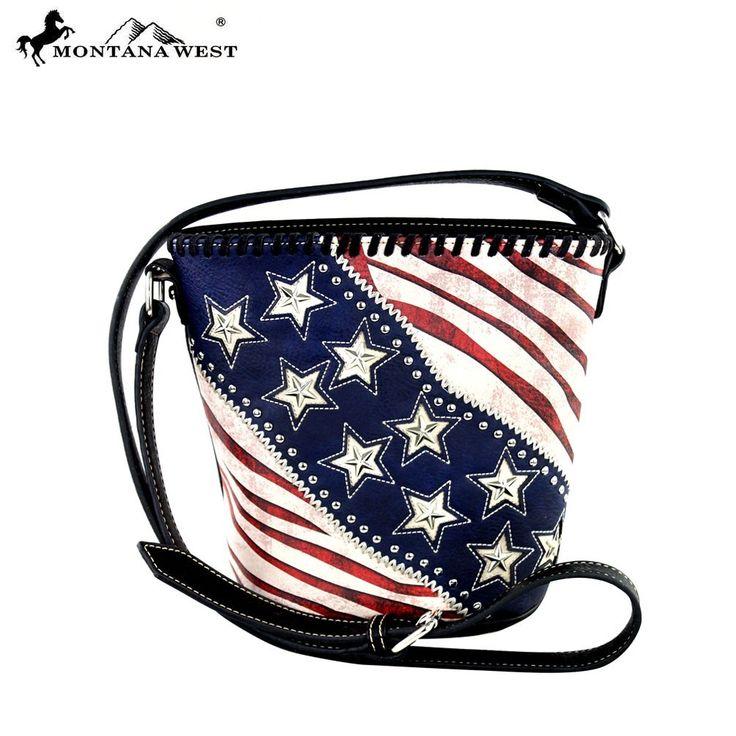 Montana West USA American Pride Patriotic Bucket Shaped Crossbody Messenger (Black)