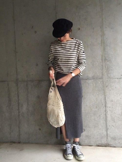 ayaさんの「WOMEN メリノブレンドリブスカート(ユニクロ)」を使ったコーディネート