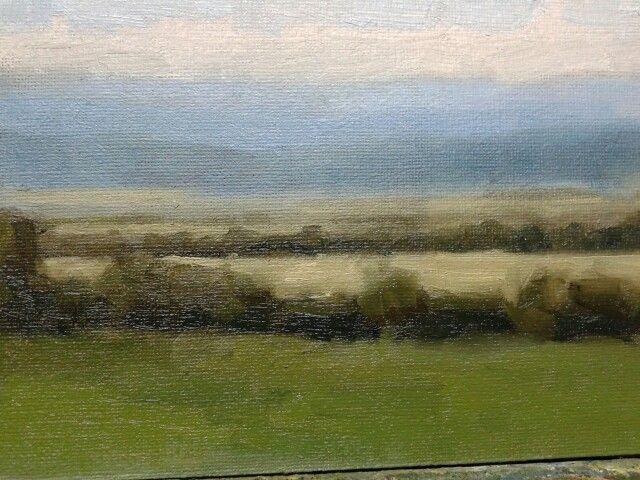 """A field study overlooking garristown.oil on board.7""""x5""""."""