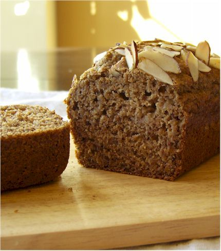 Morning Banana Bread! Recipe is sugar-free, vegan (and consequently egg-free and dairy-free), soy-free, nut-free, and optionally wheat-free