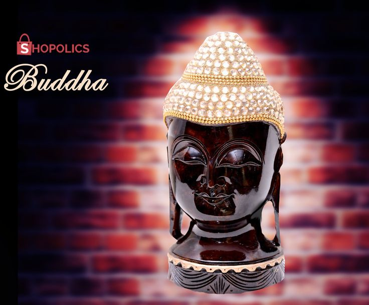 The head of #LordBuddha made of #teak and studded with #stones is truly a #divine master piece which brings #positivity and #peace into your #home. 	 Shop now:  https://goo.gl/4DTyZ6