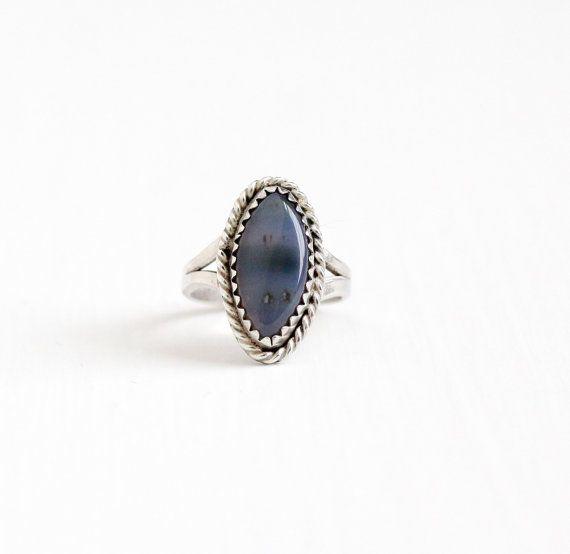 Vintage Sterling Silber Achat Ring  retro-1960er von MaejeanVintage
