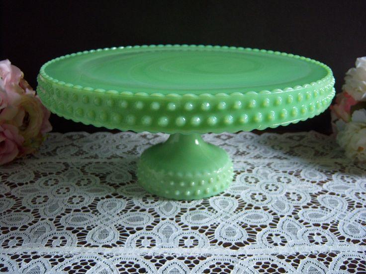 L e smith 11 jadeite hobnail cake stand smith etsy