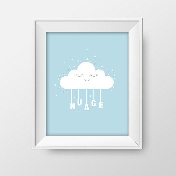 Affiche 8X10 nuage  Affiche chambre enfant thème par Akwadesign