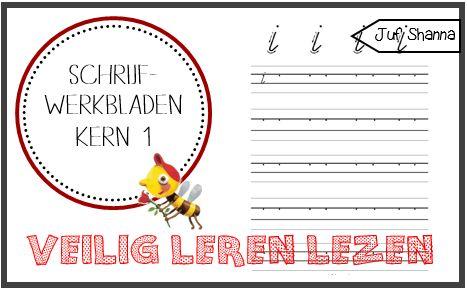 Juf Shanna: Letter schrijfwerkbladen (kern 1)