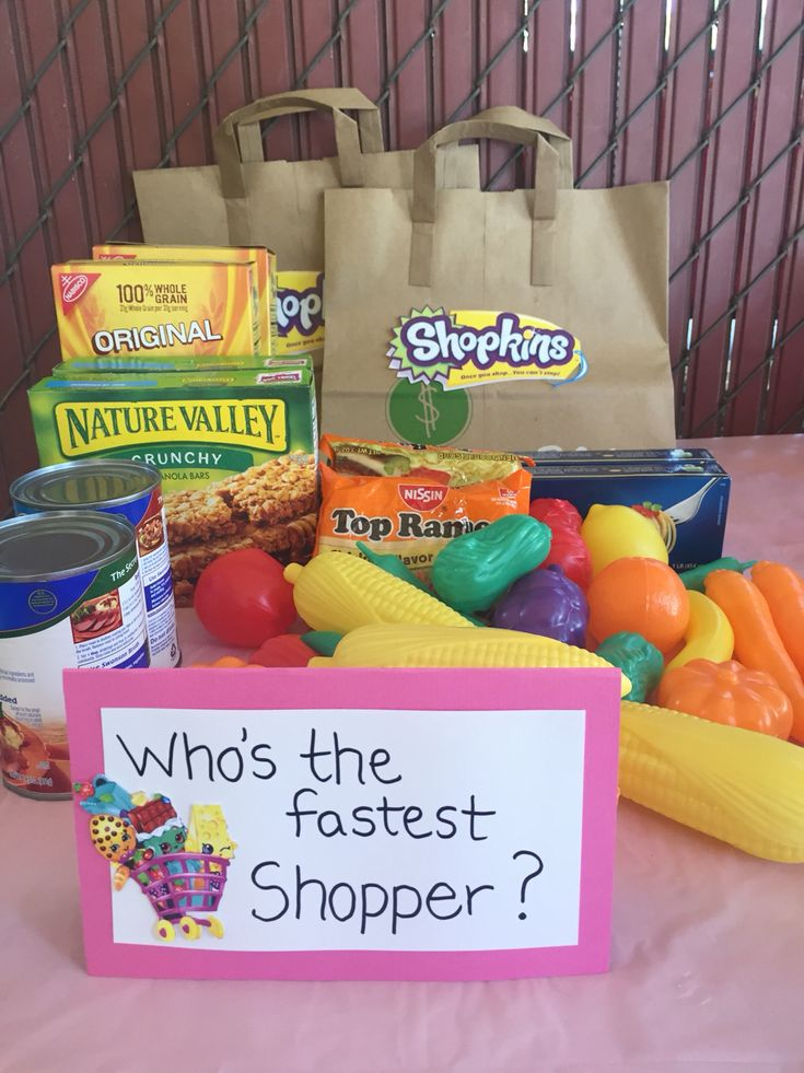 Shopkin Birthday game idea - Who's the Fastest Shopper?   -See who can bag the groceries the fastest! Fun Shopkins game that the kids enjoyed!