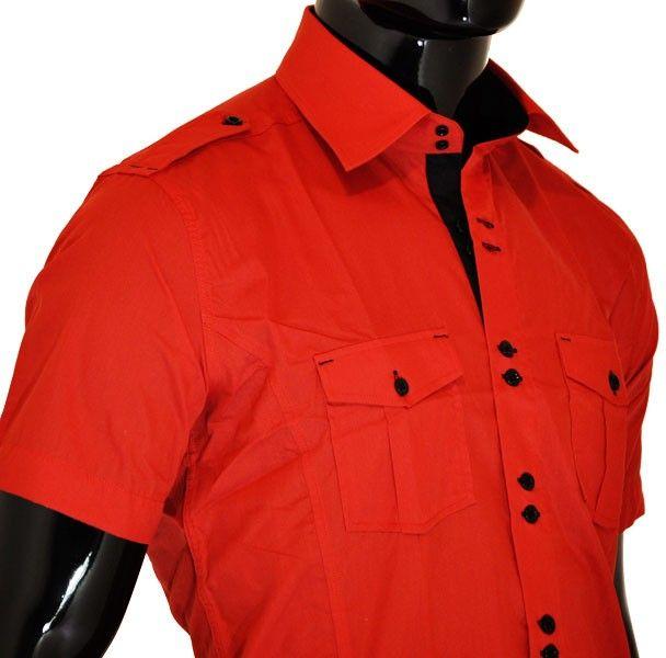 Chemise homme rouge à col intérieur noir , pattes sur épaules et ...