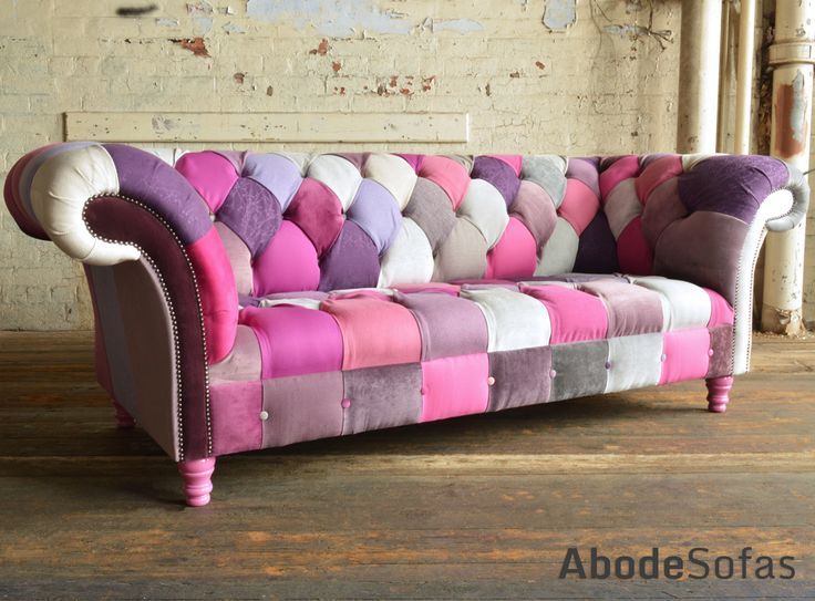 Modern British and handmade bold Pink Patchwork Chesterfield Sofa. Totally unique fabric 3 seater, shown in a range of pink and purple hue colours. | Abode Sofas
