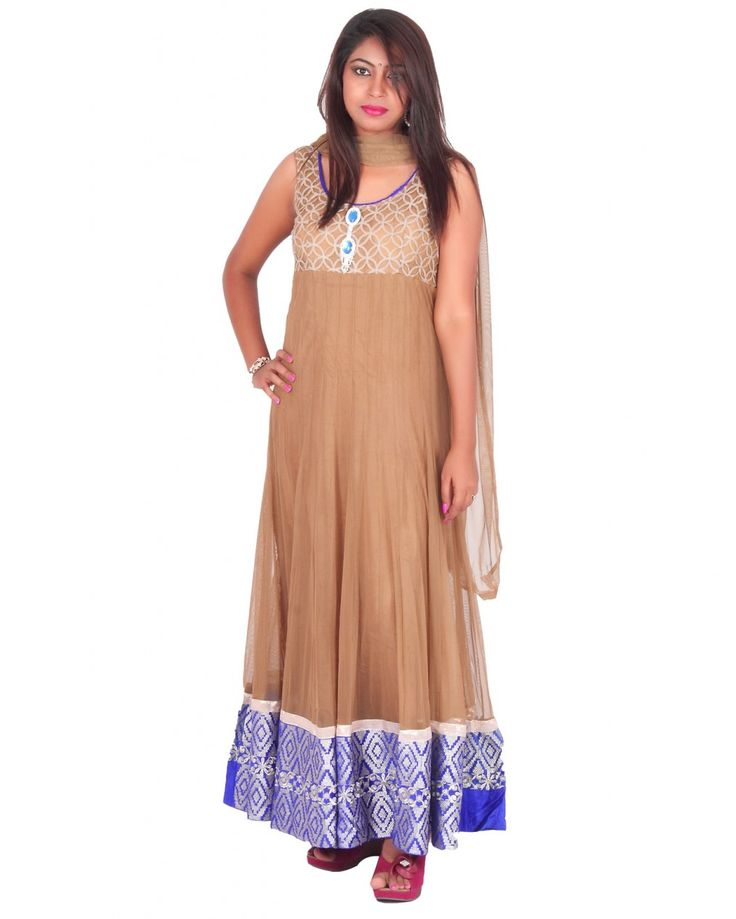 Made of Net blend, this suit set is quite comfortable to wear and skin friendly too. Comprising a kurti,churidar,dupatta,unstitched short sleeves this ethnic