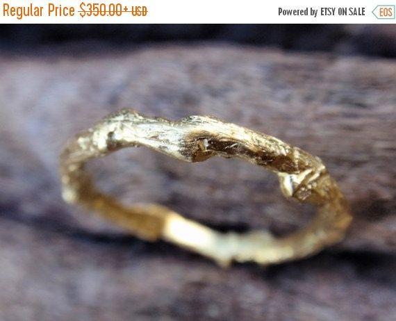SALE 10% OFF 14k gold twig wedding band wedding ring by preciousjd